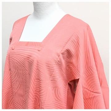 ピンク 色無地 地紋柄 身丈83 裄66 道行コート 正絹 中古品