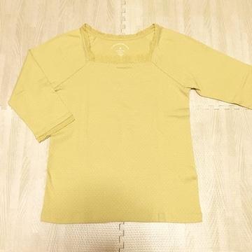 【美品】ドット柄スクエア首コットン7分袖Tシャツ/M/イエロー