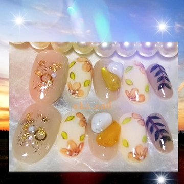ジェルネイルチップ☆付け爪〜フラワー×さざれ石