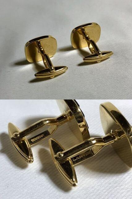 正規美 ランバンLANVIN ヴィンテージ ロゴスクエアカフス黒×金 カフリンクス ボタン < ブランドの