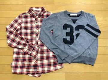 PEGGEY LANA(ペギーラナ)ナンバリングニット+2WAYネルシャツセット美品