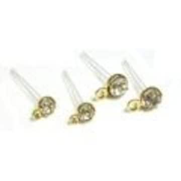 石付き 樹脂ポストピアス 1ペア■金■サイズ3mmか4mm
