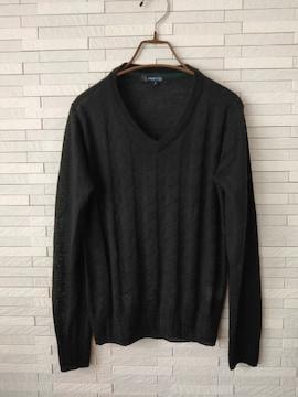 即決/ABAHOUSE/アバハウス/Vネック長袖ウール混薄手セーター/黒2