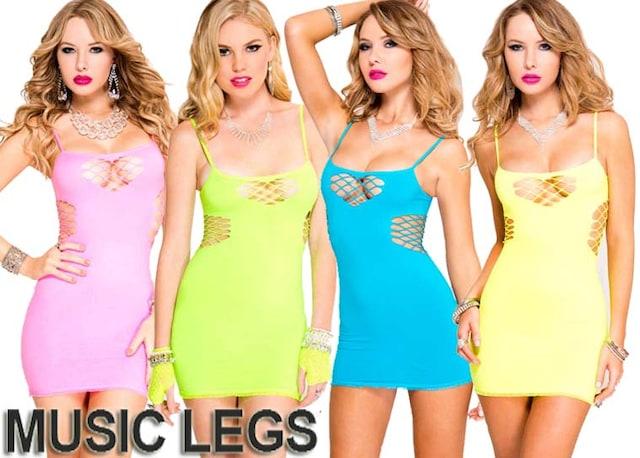 A142)MUSICLEGSシームレスワンピースネオンピンク蛍光色GOGOダンサーダンス衣装B系 < 女性ファッションの