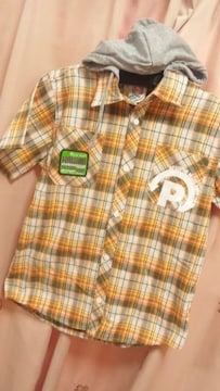 新品PJ'Sチェック半袖シャツ150フード取外し