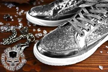 送料込 ラメ ハイカット スニーカー 靴 メンズ シューズ 厚底 オラオラ ダンス 107銀25.5