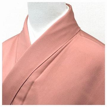 特選 色無地 身丈150.5 裄62 正絹 袷 一つ紋入り(ピンク)菱