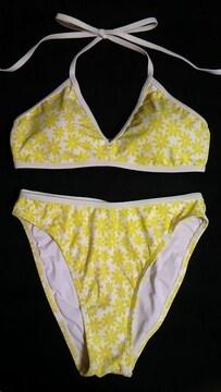 美品レトロフラワー花柄&パイピングホルターリボン三角ビキニ水着白黄色 9M