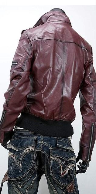 ヴィンテージレザー シングルライダースジャケット★ワイン★M < 男性ファッションの