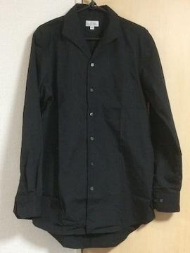 イタリアンカラー 長袖シャツ ブラック 美品
