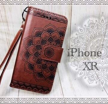 iPhoneXR 手帳型ケース フラワー ネイティブ フィルム  ブラウン