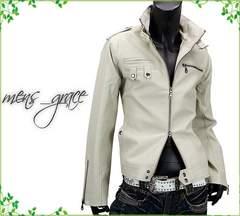 新品 ライダースジャケット 合成皮革 Wジップ 白ホワイト LL