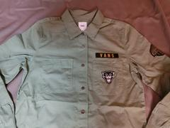 【VANS】ロゴ虎ワッペン付 アーミー風 ロングシャツUS XS