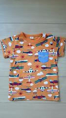 ラキエーベ キムラタン 半袖Tシャツ サイズ95 乗り物総柄 オレンジ色 ヘリコプター