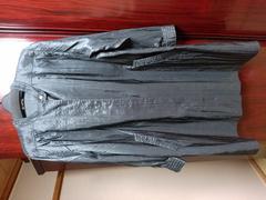 ミセス→黒 薄手しわ加工 ロングコート Lサイズ