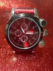 インパクト抜群♪綺麗な赤★腕時計メンズ【クラブフェイス】