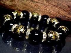 クロス紋章オニキス§オニキス14�_金ロンデル数珠