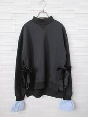 CEREAL/韓国/スウェットドッキングシャツリボンチュニック/黒