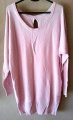 セーター 後リボン付 ドルマン ニット 大きいサイズ ピンク LL