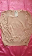 新品ピンクベージュ綿コットン混Vネック長袖薄手ニットセーター