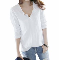 Vネック カットソー スキッパーシャツ (ホワイト、Mサイズ)