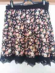 Dip Drops☆美品膝上フラワー&裾レーススカート♪サイズ2