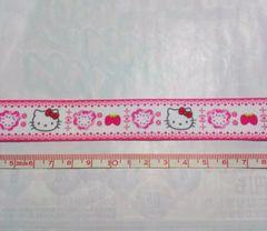 22mm巾 キティ ピンクライン(フェイス)柄リボン1M