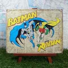 新品【ブリキ看板】バットマン&ロビン アメリカンコミック