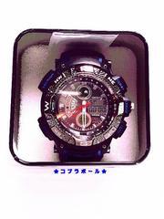 ★OHSEN★デジ/アナ★クロノMEN'S腕時計★青/黒★新品★004★?★