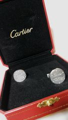 正規美 レア カルティエ Cartier サントス ロゴ文字オーバルカフスSV925 箱有 兼用