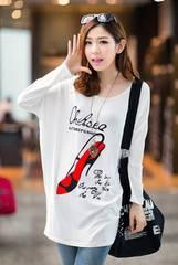 1207-600330大きいサイズ☆ハイヒールプリントTシャツ☆ホワイト
