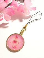 ★桃の花 レジンストラップ もも ミルキーピンク キラキラ