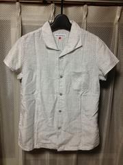 ホームズアンダーウェア 総柄 半袖シャツ Sサイズ 白色×グレー 日本製 HRM ハリラン