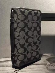 コーチ新品 COACH  ブラック シグネチャー レザー財布