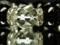 オラオラ系!ダイヤカット水晶×ブラックオニキス数珠ブレス