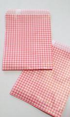 R70サイズ平袋★チェック赤★A6が入る紙袋30枚