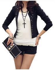 ショート丈七分袖★リベット付★テーラードジャケット(XL寸.黒