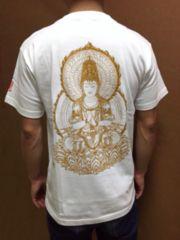 100%綿製 大日如来・仏画Tシャツ*白 Sサイズ