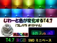 ★T4.7 Slow-RGB 3個セット★レインボー点滅 アルファード10系液晶などに