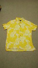 黄色花柄♪シャツM♪レーヨン生地