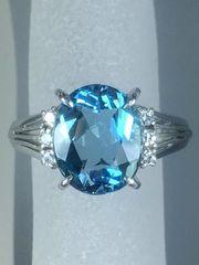 ★青の色味が綺麗! シンプルで飽きないリング P.t900 #10★