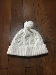 【wool混】ケーブル編◆オフホワイトニット帽◆男女兼用