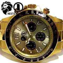 良品 ネスタブランド【クロノグラフ】大型 メンズ腕時計