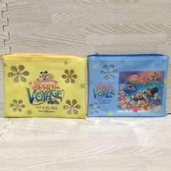 【NEW】ミッキー&ダッフィー花柄フラットクリアポーチ2個セット