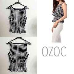 OZOC チェックペプラムタンクトップ オゾック 38