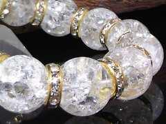 クラック水晶16ミリ§爆裂水晶金ロンデル数珠