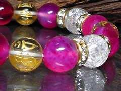 十二支梵字水晶ピンクアゲートクラック水晶10�_数珠