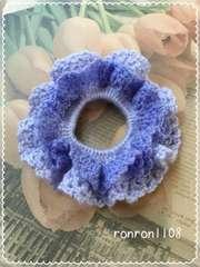 ハンドメイド/手編み♪毛糸のダブルフリル編みシュシュ 5