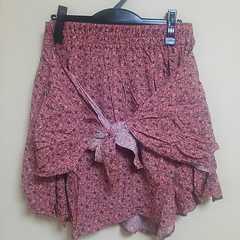 大きいサイズ LL デザインスカート ウエストゴム pink