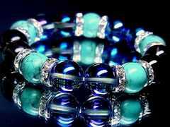 ターコイズ§ブルーオーラ§スモーキークォーツ煙水晶§12ミリ§銀ロンデル
